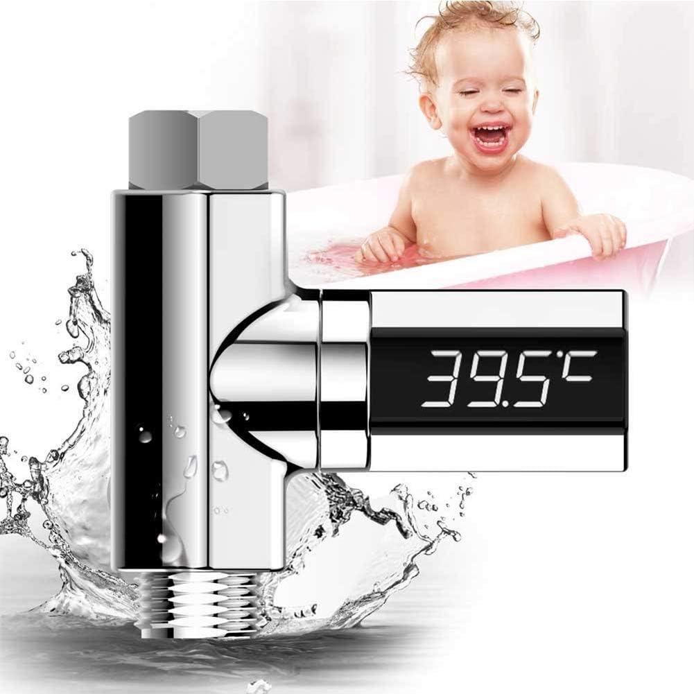 1//2 pulgada Pantalla LED Digital Term/ómetro de Ducha de Agua Monitor para el hogar Flujo Monitor de Temperatura del Agua Pantalla Celsius Fahrenheit Pantalla giratoria para el hogar Cocina Ba/ño