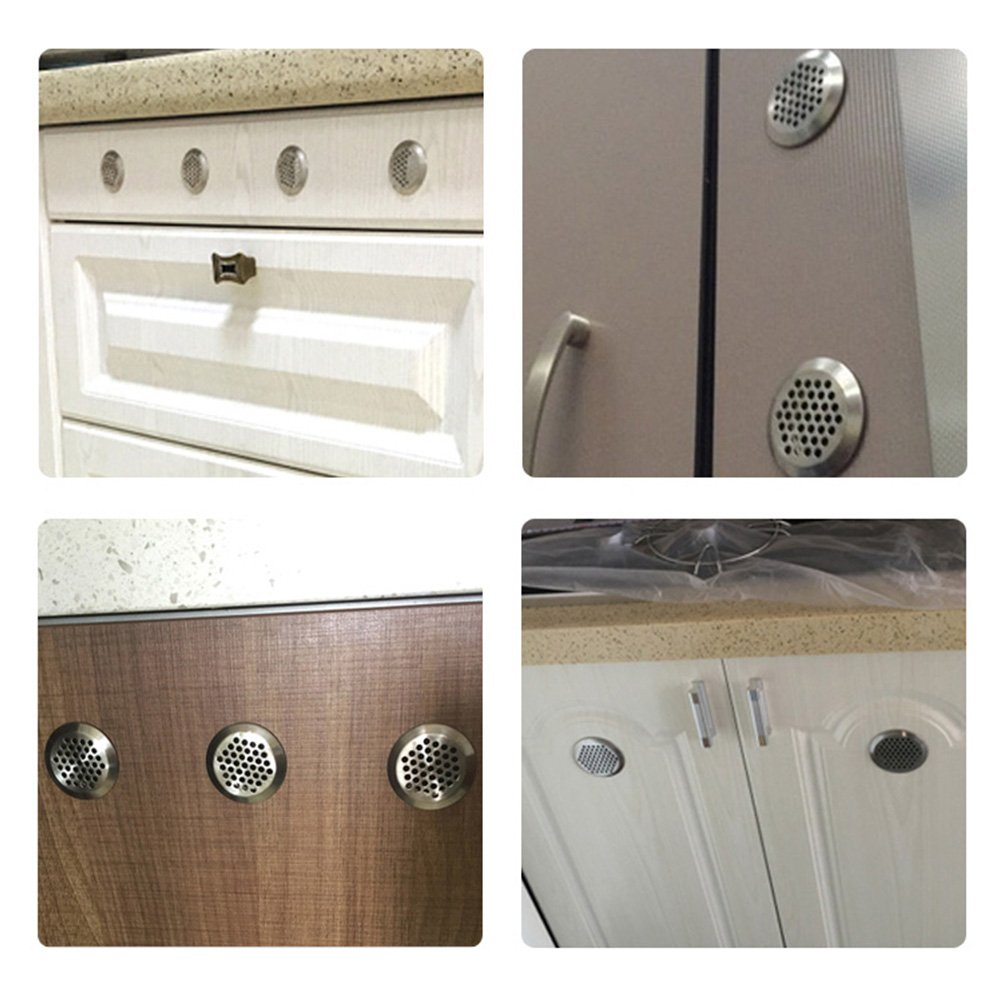 Shoe Cabinet and Decorative Cabinet Wardrobe FOCCTS 20PCS 53mm Circular Stainless Steel Air Vent Hole Mesh Hole Silver Tone for Kitchen,Bathroom,Cabinet