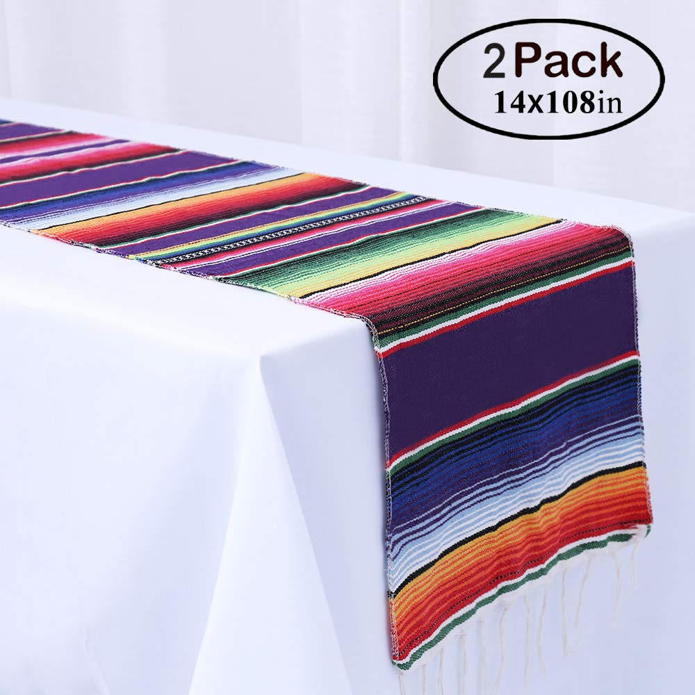 Humorous.P Pack of 2 Mexican 14inx108in Table Runners Fringe Cotton Table Runners for Pool Party, Mexican Party and Tribal Party by Humorous.P