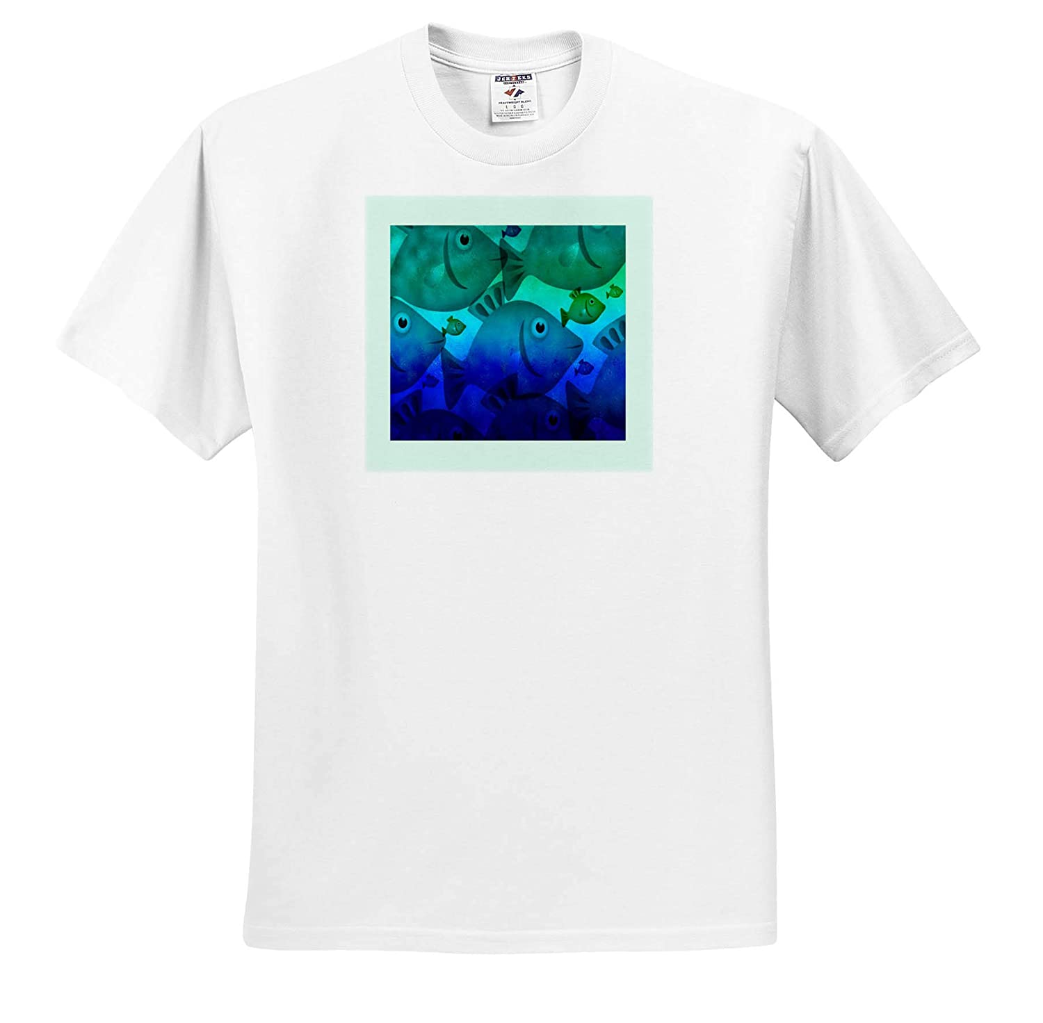 Image of Blue and Green Fish with Mint Frame Kids Summer Art ts/_312641 Adult T-Shirt XL 3dRose Lens Art by Florene
