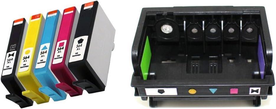 RIGHTINK 1Pack 5Slot 564XL CB326-30002 CN642A Printhead / Plus Ink Cartridge for HP564XL 5Pack(BK/PBK/C/M/Y) for HP Photosmart Premium Printers