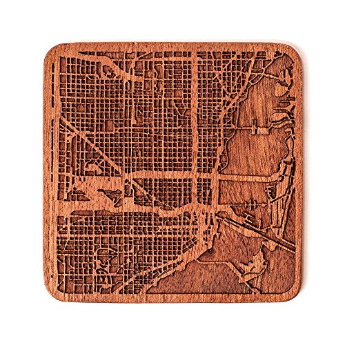 Miami Map Coaster by O3 Design Studio, 1 piece, Sapele Wooden Coaster With City Map, Handmade, Multiple city optional]()