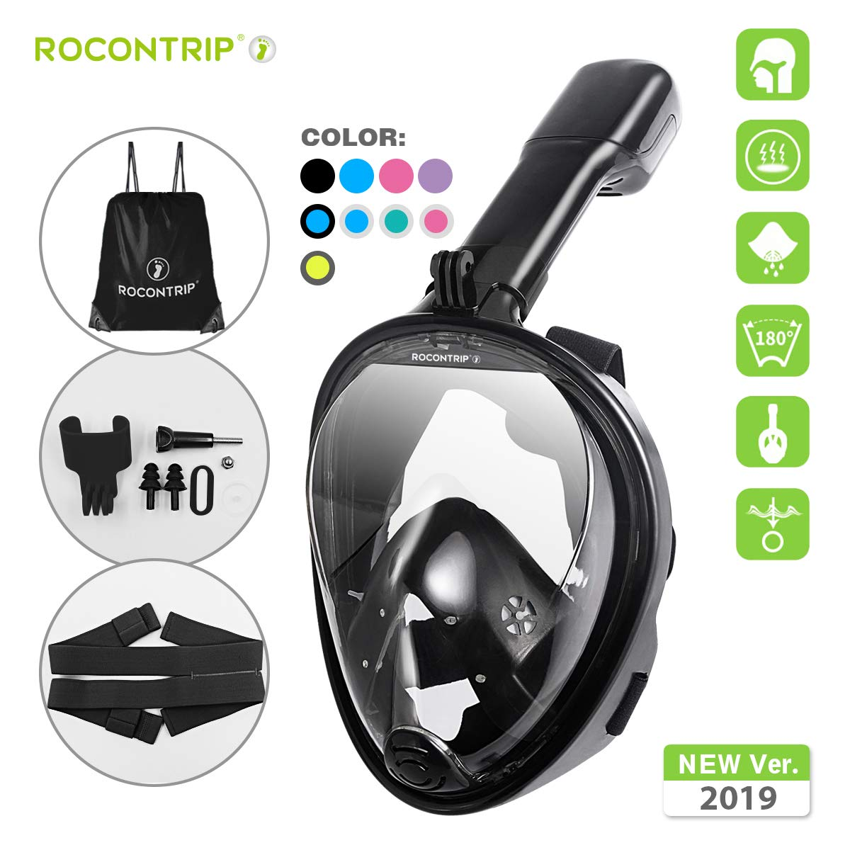 ROCONTRIP Full Face Snorkel Mask, Free Breathing 180° Panoramic View Diving Mask, Anti-Fog Anti-Leak and Adjustable Head Strap Snorkeling Mask for Men Women Adult (Black, S/M) by ROCONTRIP
