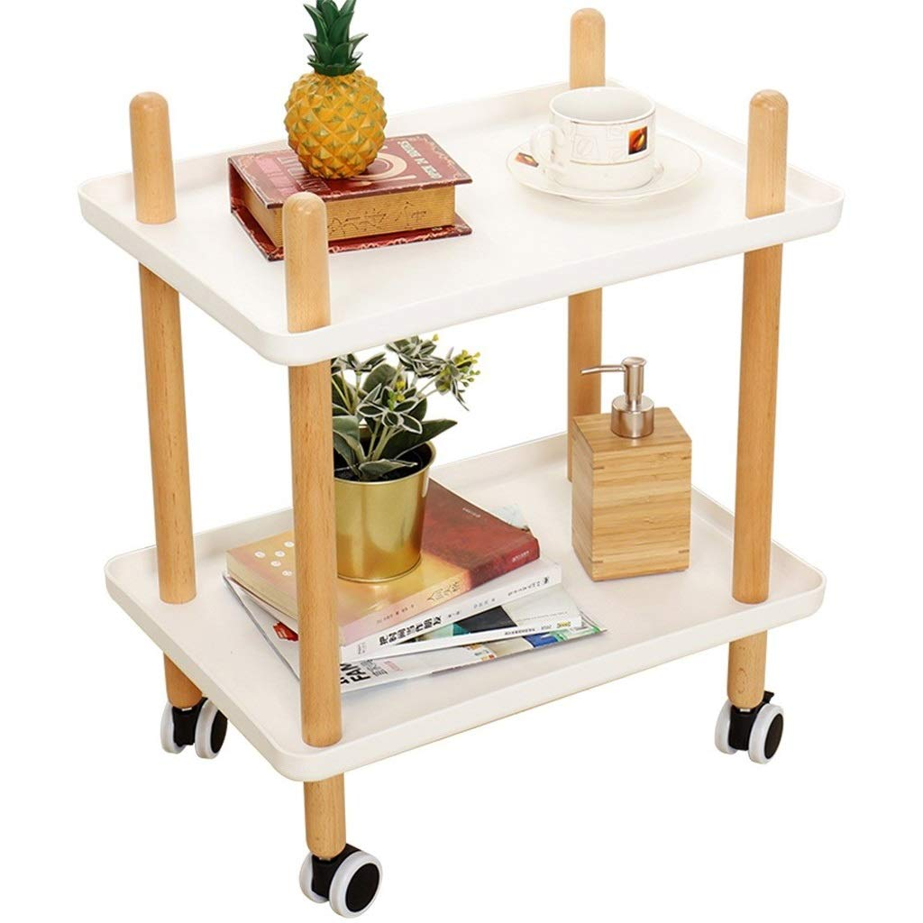 Lxrzls Nordic Simple 2 Layer Trolley Cart Sofa Living Room Mini Solid Wood Corner Table with Wheels Can Move Coffee Table (Color : White -1001) by Lxrzls