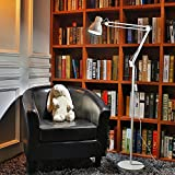 ToJane 70'' Floor Lamp with Heavy Metal Based, Architect Swing Arm Floor Standing Lamp for Office/Bedrooms,LED Bright,White Metal Finish