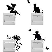 4 pegatinas de dibujos animados para interruptores de luz, pegatinas de hadas, pegatinas de flores, pegatinas de gatos…