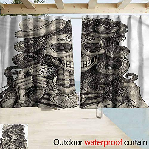 MaryMunger Doorway Curtain Day of The Dead Calavera Artwork Simple Stylish Waterproof W72x72L Inches (Day Of The Dead Artwork For Sale)