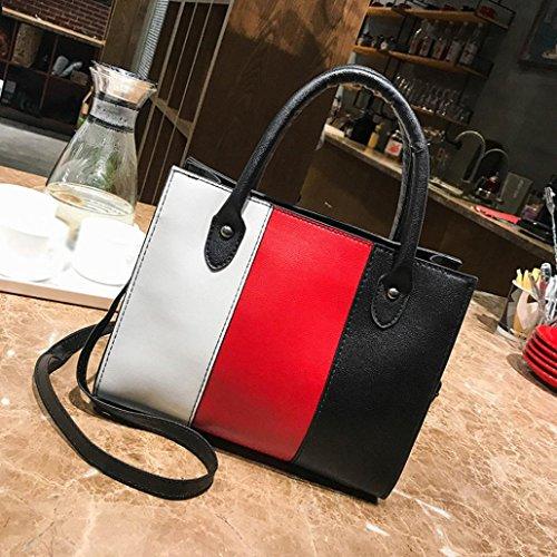 YJYdada Woman Tote Casual Bags Crossbody Bag Hit color Leather Handbag Shoulder Bag (Red)