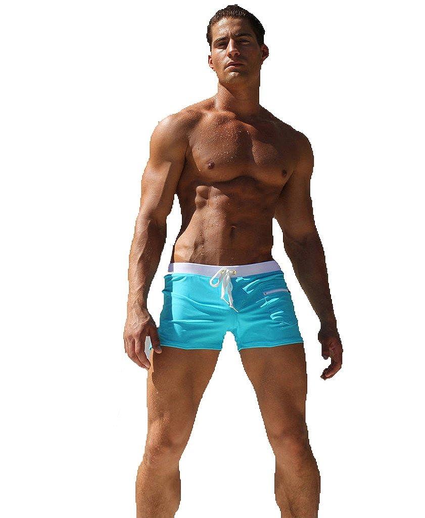 Fayesmiling Men's Swim Trunk Boxer Beachwear Shorts Briefs with Zipper Pockets