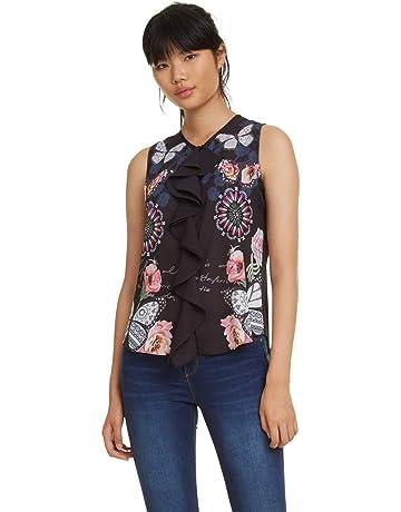 bcc88b897 Desigual Blouse Sleeveless Ginebra Woman Black Blusa para Mujer