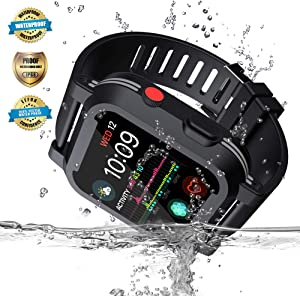 Apple Watch Waterproof Case for 44mm Apple Watch Series 4, EFFUN IP68 Waterproof Shockproof Impact Resistant Apple Watch Case Rugged iWatch Protective Case + Soft Silicone Apple Watch Band Black