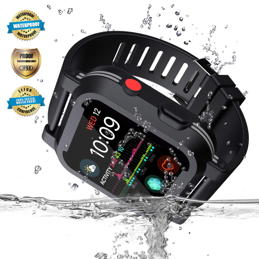 Apple Watch Waterproof Case for 40mm Apple Watch Series 4, EFFUN IP68 Waterproof Shockproof Impact Resistant Apple Watch Case Rugged Protective iWatch Case + 2 Soft Silicone Apple Watch Band Black by EFFUN