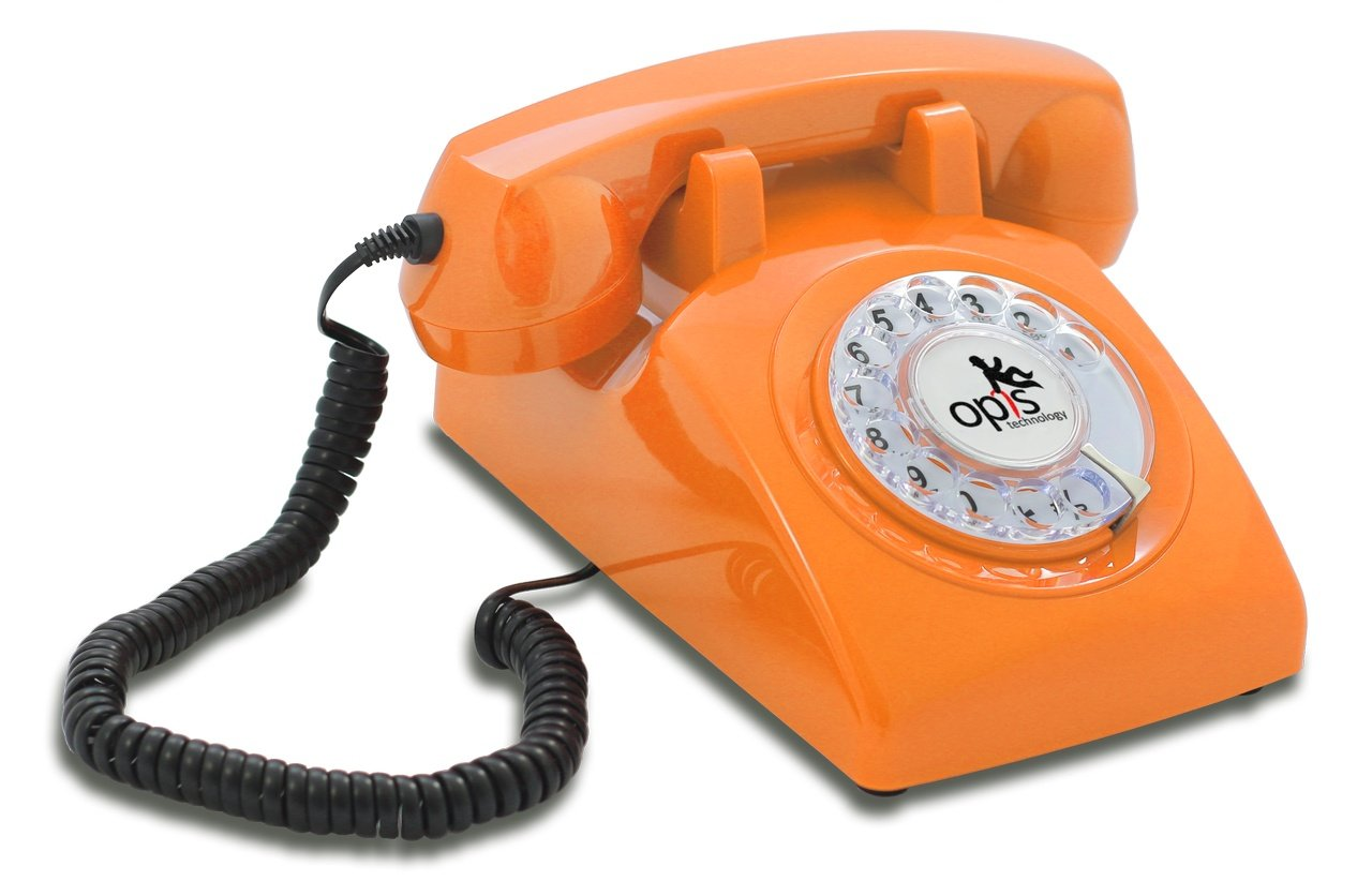 OPIS 60s CABLE: designer retro phone/rotary dial telephone/retro style phone/vintage telephone/classic desk phone with rotary dialler (blue) Opis Technology GmbH T60cab