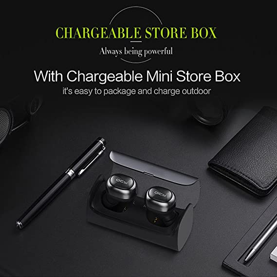 QCY Q29 Auriculares Bluetooth Mini Headset Tecnología TWS Bluetooth V4.1 Inalámbrico In-ear Carga Inteligente con Mic Incorporado para iPhone, iPad, ...