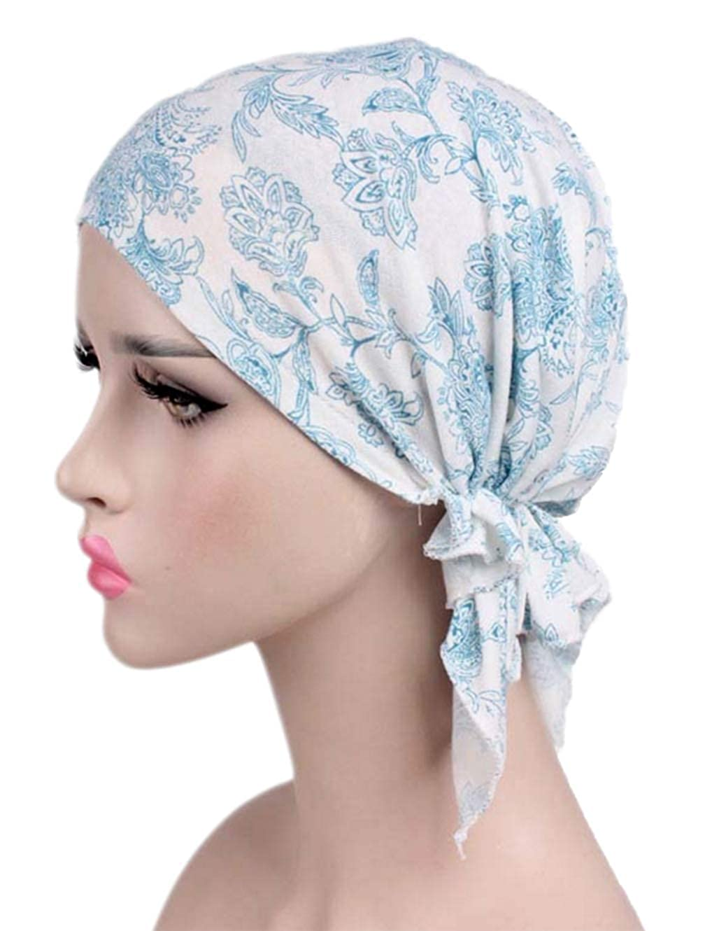 Boboder Womens Cotton Chemo Hats Slouchy Soft Bandana Pre Tied Beanie Turban Cap for Cancer Patients Hair Loss 2 Pack