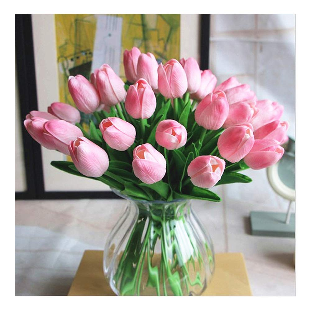 Pink SC 30 SHINE-CO LIGHTING Single Stem Real PU Touched Faux Tulips Flowers 10 Pcs Arrangement Bouquet with Glorious Moral for Home Office Wedding Parties