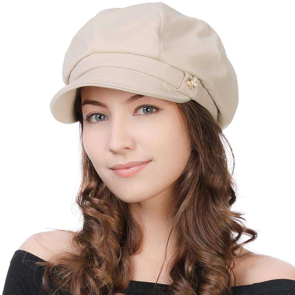 Womens Winter Visor Beret Newsboy Cap Vintage Paperboy Cabbie Painter French Hat Beige by Fancet