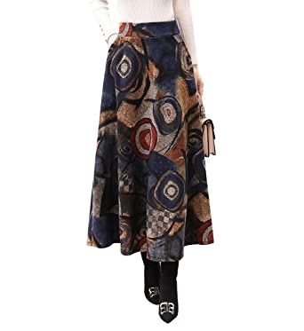 8d30c29a0cbe01 Damen Vintage Elegante Elastische Taille Gestreifter Plaid Wollrock Herbst  Winter Warm Röcke Mode Langen Hohe Taille