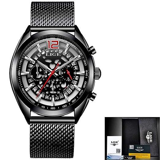 HWCOO LIGE Relojes mecánicos LIGE Reloj Militar Multifuncional Reloj Luminoso para Hombres (Color : 1