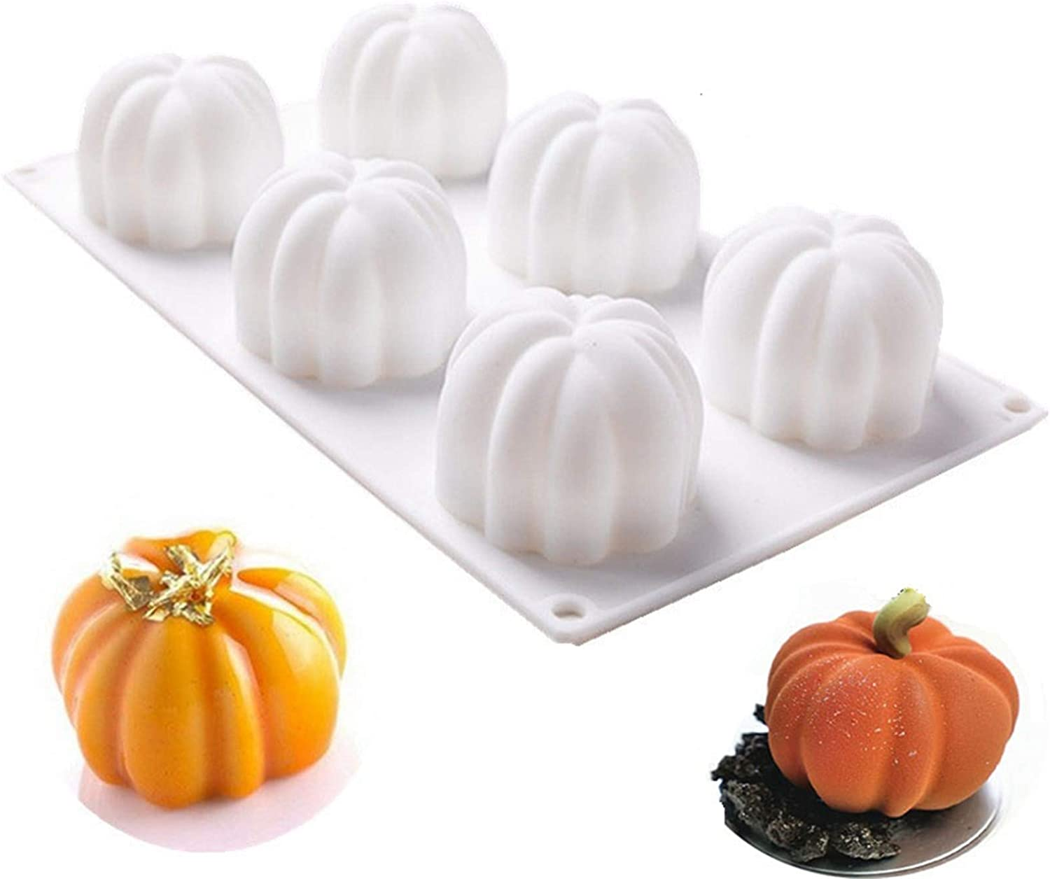 Silicone Cake Molds For Baking - Halloween 3D Pumpkin Silicone Mold 6 Cavities Cupcake Baking Pan Mousse Mold Tray For Candy Chocolate Brownie,Cheesecake Dessert Handmade DIY Soap Making
