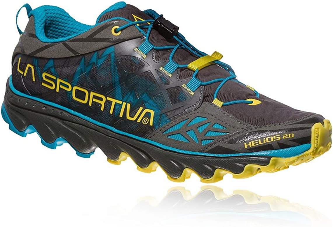 La Sportiva Helios 2.0, Zapatillas de Trail Running para Hombre, Multicolor (Carbon/Tropic Blue 000), 47 EU: Amazon.es: Zapatos y complementos