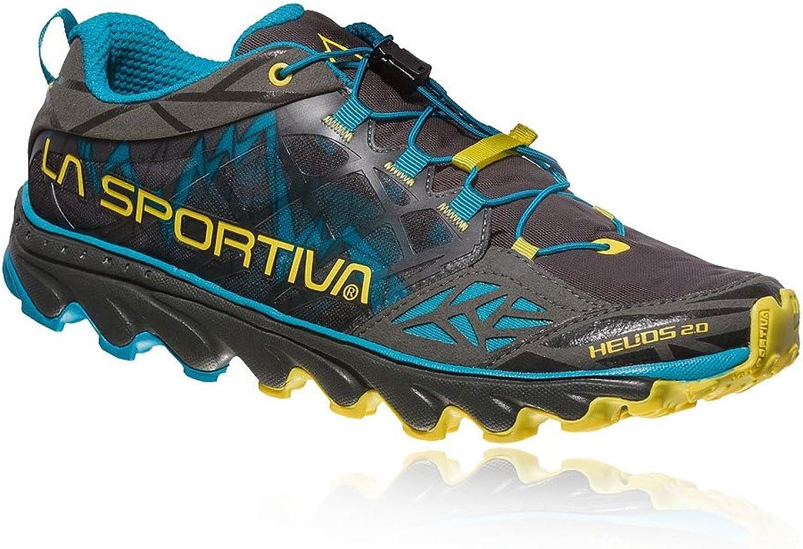La Sportiva Helios 2.0, Zapatillas de Trail Running para Hombre, Multicolor (Carbon/Tropic Blue 000), 47 EU: Amazon.es: Zapatos y complementos