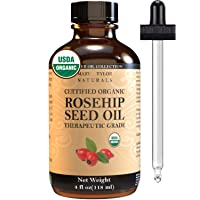 Organic Rosehip Seed Oil (4 oz), USDA Certified by Mary Tylor Naturals, Cold Pressed...