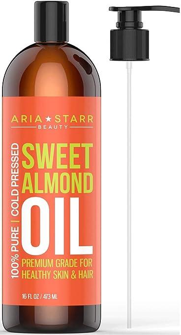 Aria Starr Sweet Almond Oil For Massage, Hair, Dry Skin, Body, Hair Food,  Bath (16oz) Best Natural