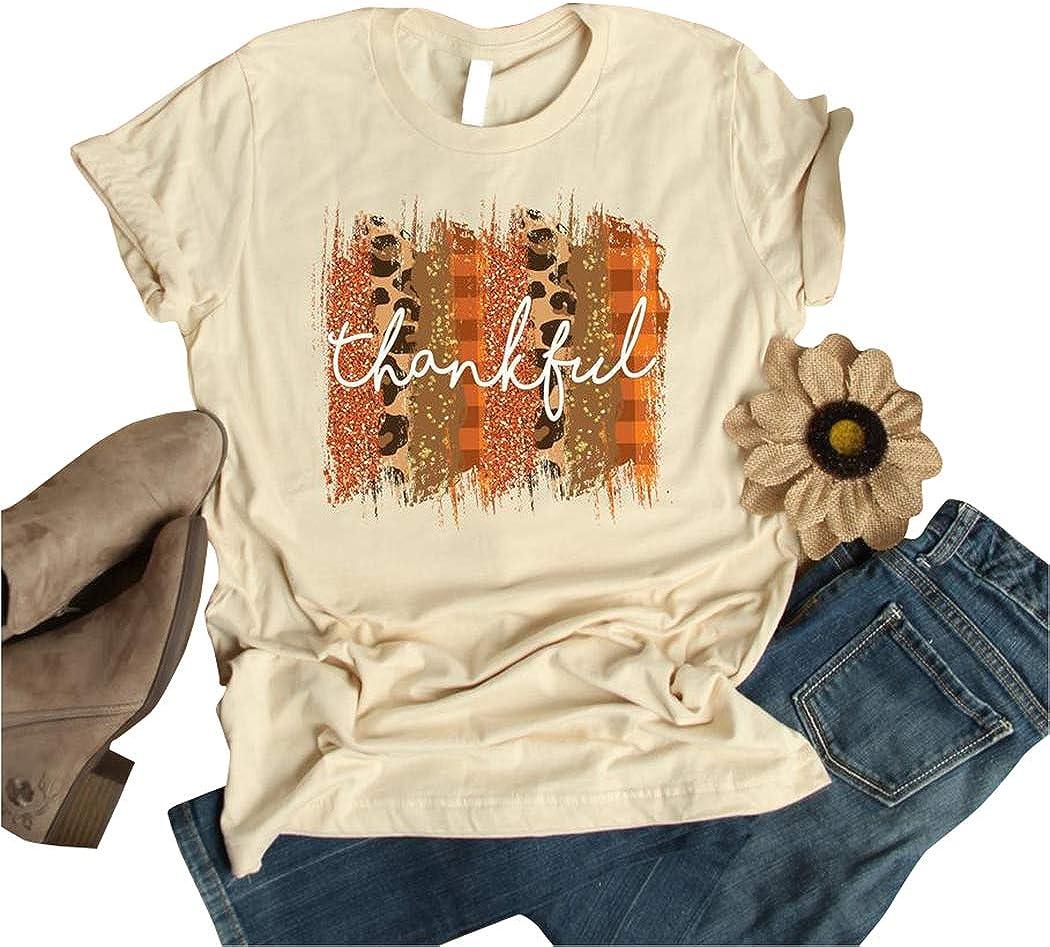 Women Thankful Grateful Blessed Thanksgiving T-Shirt Plaid Leopard Pumpkin Halloween Tee Christian Letter Fall Shirts Top
