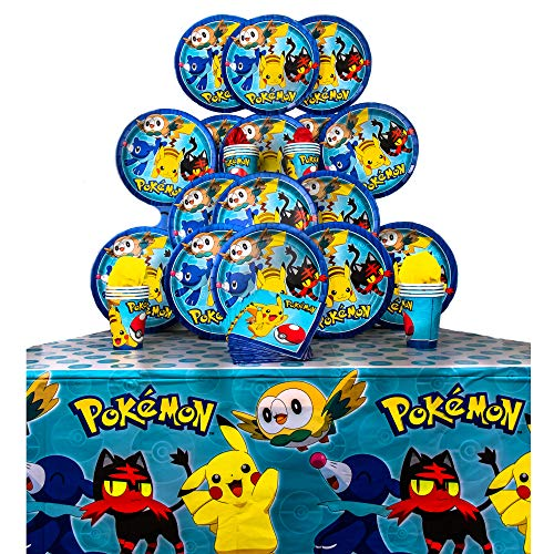 B-THERE Party Pack Bundle of Pokemon Party Supplies, Seats 16 - Napkins, Plates, Cups and Tablecloth - Deluxe Party Pack Supplies ()