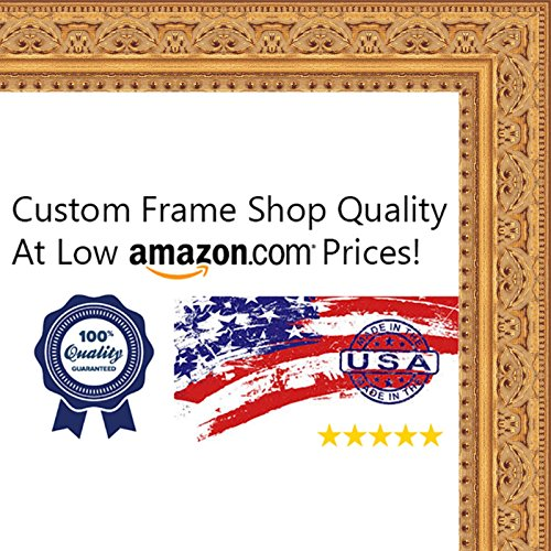 11x14 Ornate Gold Wood Picture Frame - UV Acrylic, Foam Board Backing, & Hanging Hardware Included!