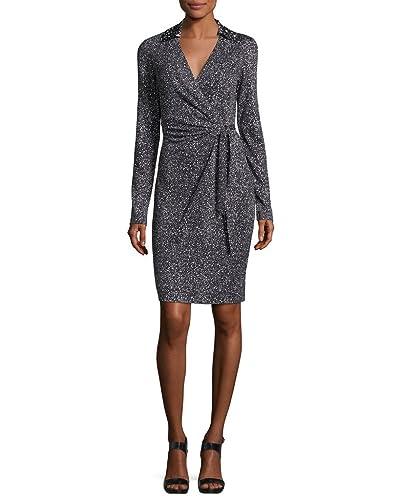 Diane von Furstenberg JELSA Faux Wrap Jersey Silk Dress in Stella Mini Black