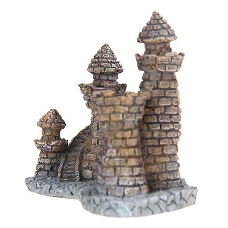 leerya Cartoon resina castillo castillo de acuarios decoración acuario pecera Torre: Amazon.es: Hogar