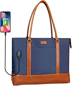 Woman Laptop Tote Bag,USB Teacher Bag Work Bag Purse Fits 15.6 in Laptop