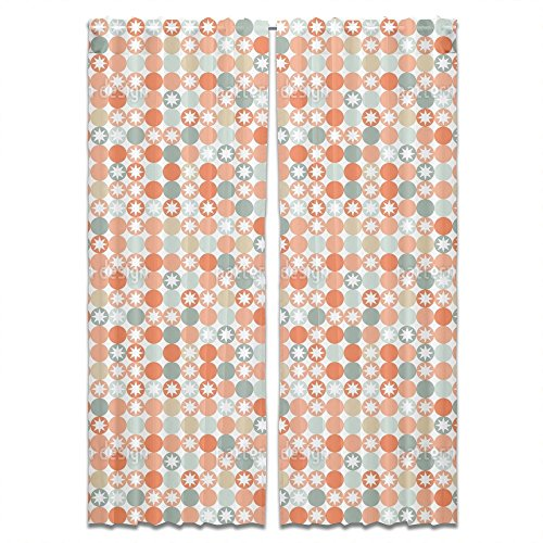 Autumnal Star Bingo Curtain: Long Window Treatment Set of 2 Panels for Living Room Bed Room by uneekee