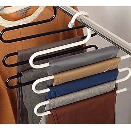Kompassswc perchas ahorra espacio perchas para pantalones (de metal múltiple para 5 pantalones vaqueros Toalla