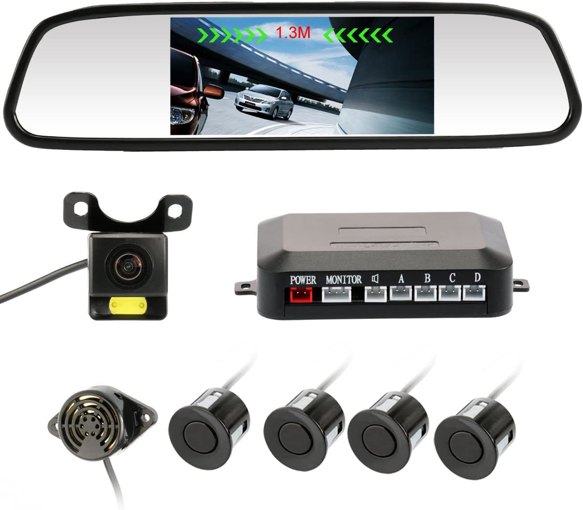 VORCOOL Waterproof High Definition Color Wide Viewing Angle License Plate Car Rear View Camera with 7 Infrared Night Vision LED
