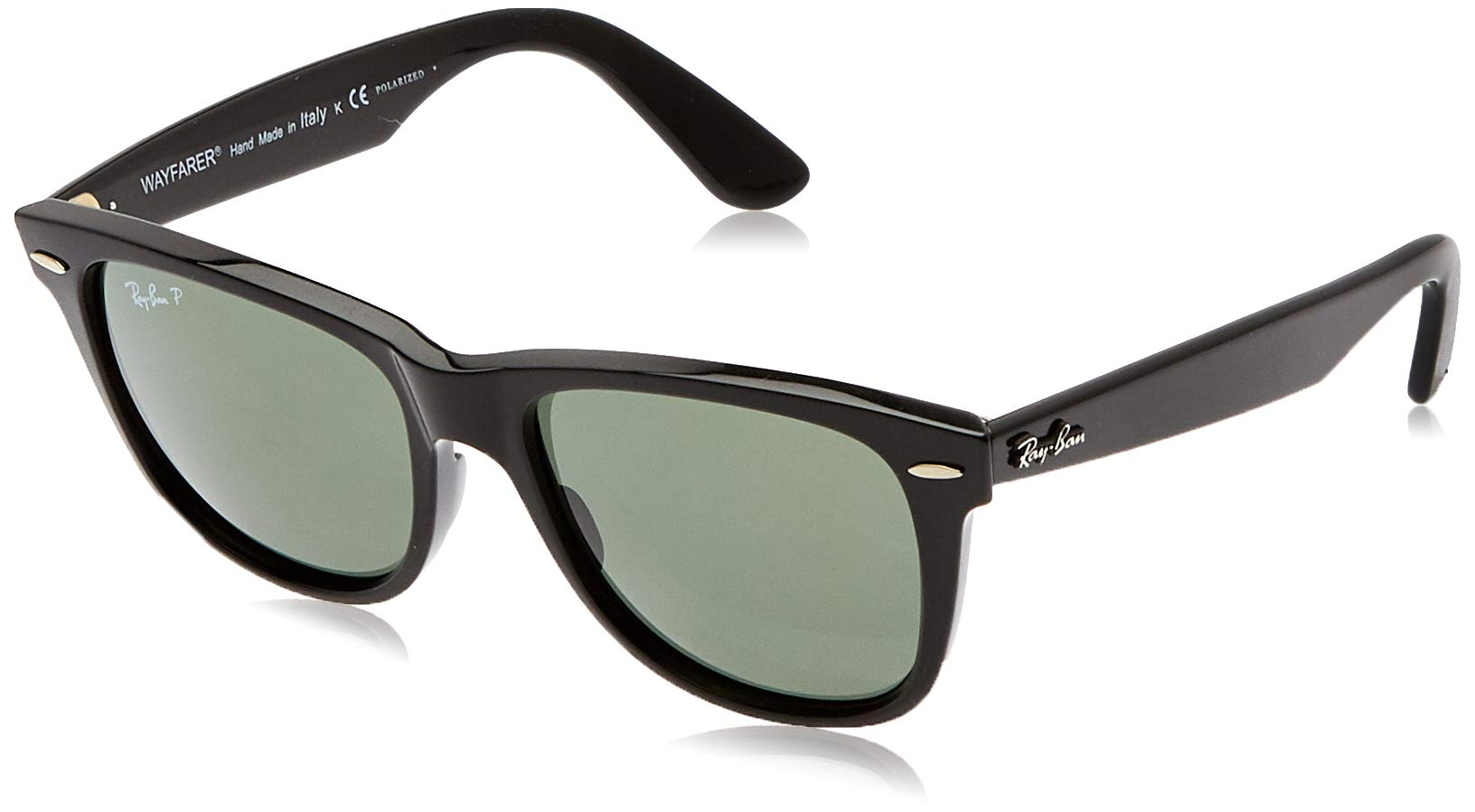 Ray-Ban RB2140 Wayfarer Sunglasses, Black/Polarized Green, 54 mm by RAY-BAN