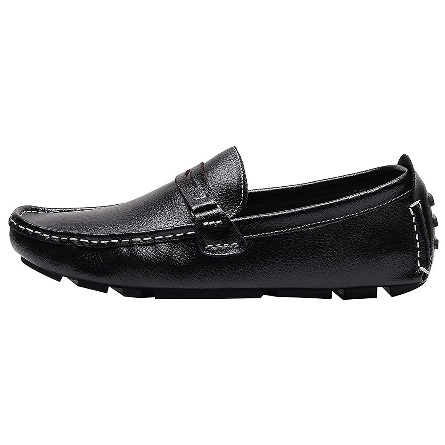 Rismart Men's Work Place Slip On Leather Loafers Shoes: Amazon.co.uk: Shoes  & Bags
