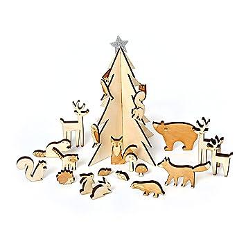Sapin Calendrier De L Avent.Calendrier De L Avent Bois Hivernal Avec Petits Animaux Et