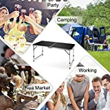 """Folding Camping Table, FiveJoy 4 FT Aluminum Height Adjustable Lightweight Desk/w Portable Handle, Roll Up Top Weatherproof and Rust Resistant Table for Outdoor Picnic Beach Backyard, 47"""" x 24"""", Black"""