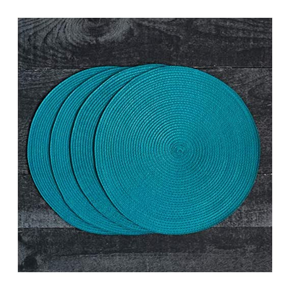 Now Designs Disko Round Placemats, Set of Four, Peacock - This placemat set includes four matching woven placemats Each placemat in the set measures 15 inches in diameter Sturdy and durable, these placemats are ideal for year round dining indoors or outdoors - placemats, kitchen-dining-room-table-linens, kitchen-dining-room - 61qrDUCONIL. SS570  -