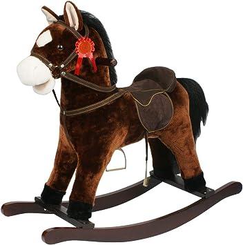 Sport1-Cavallo a Dondolo Rodeo in Legno e Morbido Tessuto con Effetti Sonori Colore Beige