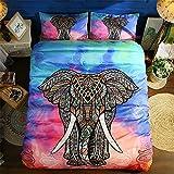 EsyDream India Colorful Elephant Bedding Bohemia Microfiber Duvet Cover Set Mandala Design No Comforter, Color 1 King Size 3pc/set