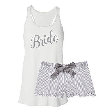 Classy Bride Bride Pajama Set - Silver (XXL Top - XS Boxers)