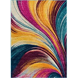 "Modern 3x5 (3'3"" x 4'7"") Area Rug Borealis Bright Multi Fuchsia Purple Blue Yellow Waves Ombre Abstract Brush Stroke Stripe Lines Contemporary Thick Soft Plush"