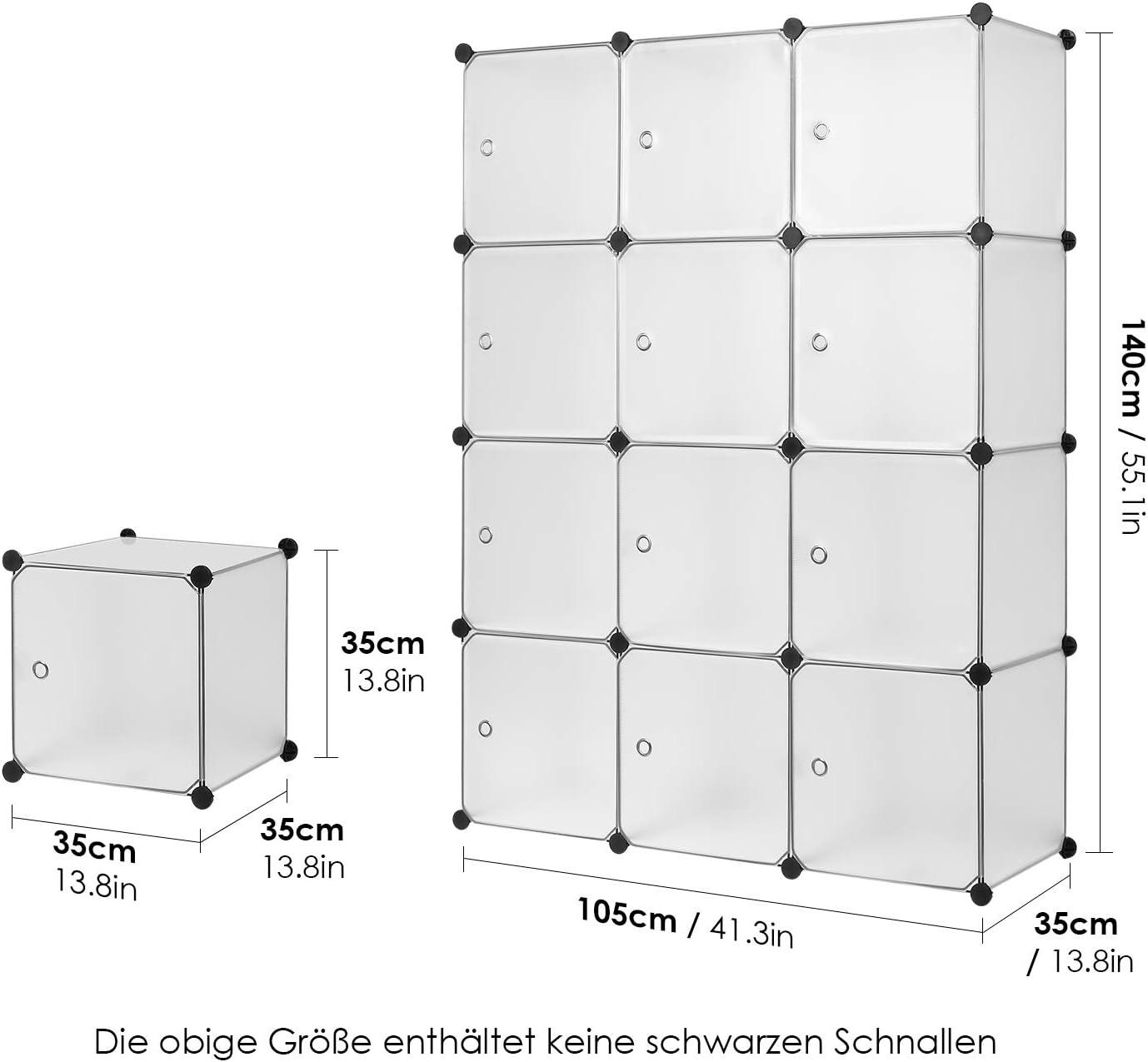 Homfa Armario Modular Estanter/ía Modular Organizador para Ropas de 12 Cubos Blanco 110x145x37.5cm