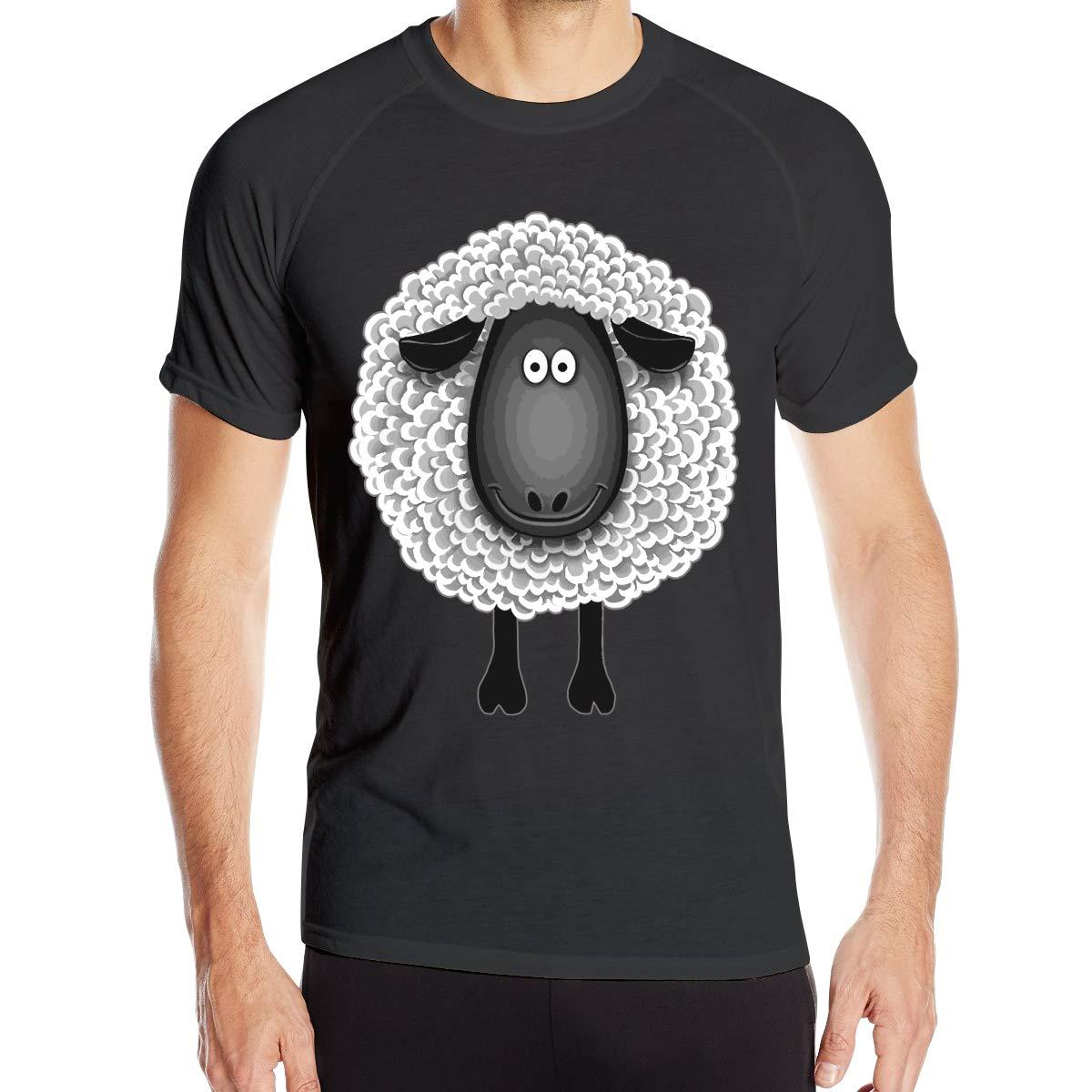 Cute Funny Sheep Mens Fast Drying Round Neck T Shirts Tee Basic Short Sleeve Backing Shirt