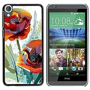 YiPhone /// Prima de resorte delgada de la cubierta del caso de Shell Armor - Poppy Flower Spring Nature Watercolor - HTC Desire 820