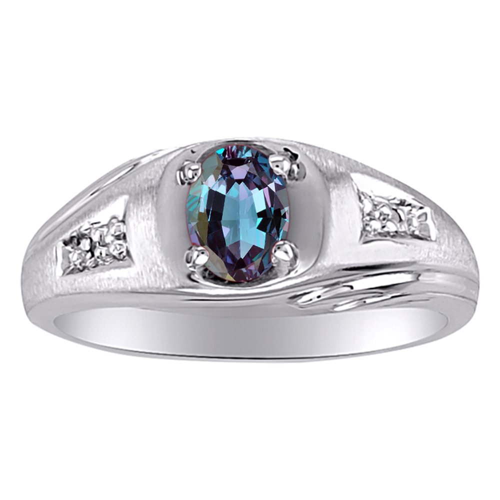 Birthstone Ring Sterling Silver or Yellow Gold Plated Silver Alexandrite /& Diamond Ring